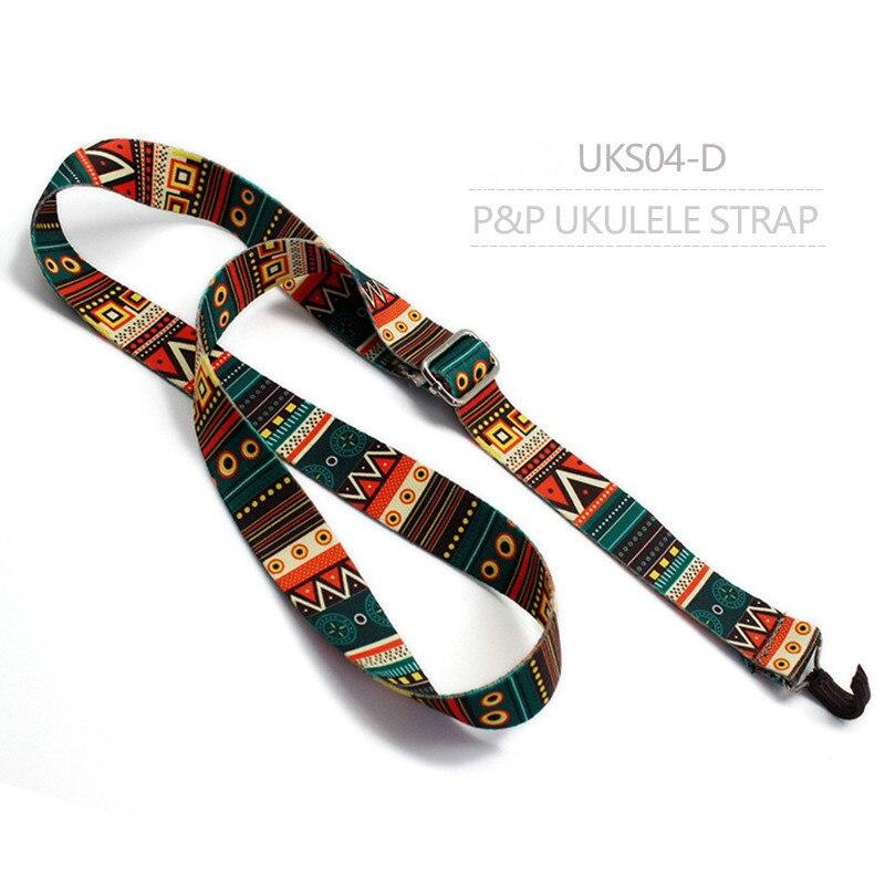 Clip On Ukulele Strap Adjustable Ukelele Strap Neck Sling Soft Cotton with Sound Hole Hook Ethnic Pattern uks04