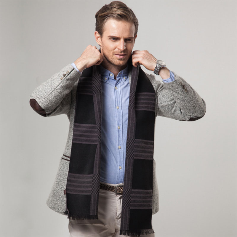 4eb98beb09623 Details about  AKIZON  New Striped Cashmere Feel Scarf Men Luxury Brand  Scarfs Business