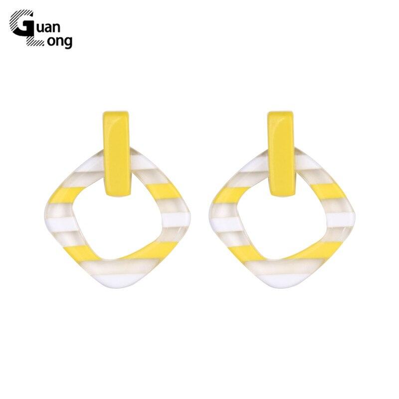 GuanLong Vintage Long Dangling Acrylic Earrings for Women Big Geometric Resin Drop Earring for Girls Fashion Jewelry Brincos in Drop Earrings from Jewelry Accessories