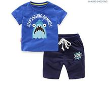 Boys Casual Tracksuits 2017 Summer Cartoons Shark Animal T-Shirt+Pant Outfits Kids Sports Suit 2PCS Sets CHildren's Clothing
