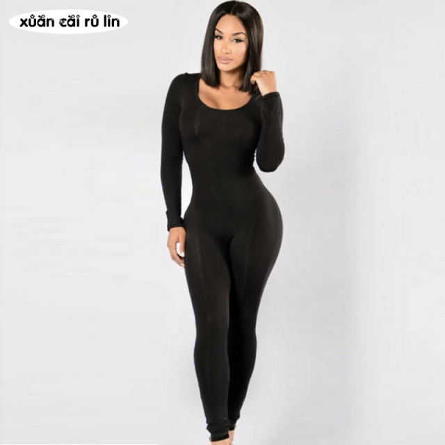 Woman Tight Bodysuit body femme sexy Overalls Night Club Rompers Party  Playsuit Bodycon Macacao long Sleeve red Black Jumpsuit 773f1acc5