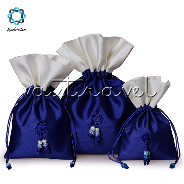 1pcs Embroidery Royal Blue Drawstring Pouches Jewelry Wedding Favor Gift Bags Organizer Amazing Dry Flower Candy