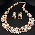 Fashion Women Simulated Pearl Jewlery Sets Charming Crystal Wedding Necklaces Earrings Set For Women Bridal Jewelry X1632