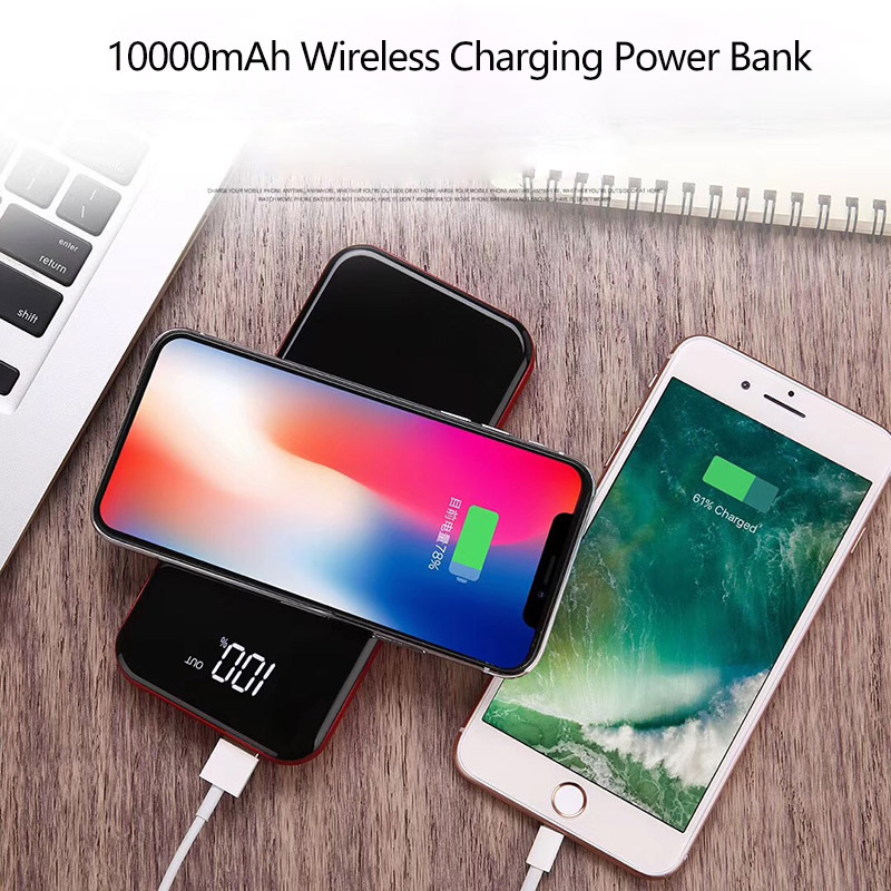 10000mAh Qi Wireless Charger Power Bank External Battery Powerbank Type c USB Micro Output LED Display