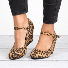 Elegant 2019 Spring/Autumn Women Shoes Pumps Wedges Leopard High-heel Flock Woman Buckle Strap High (5cm-8cm) Size 35-43