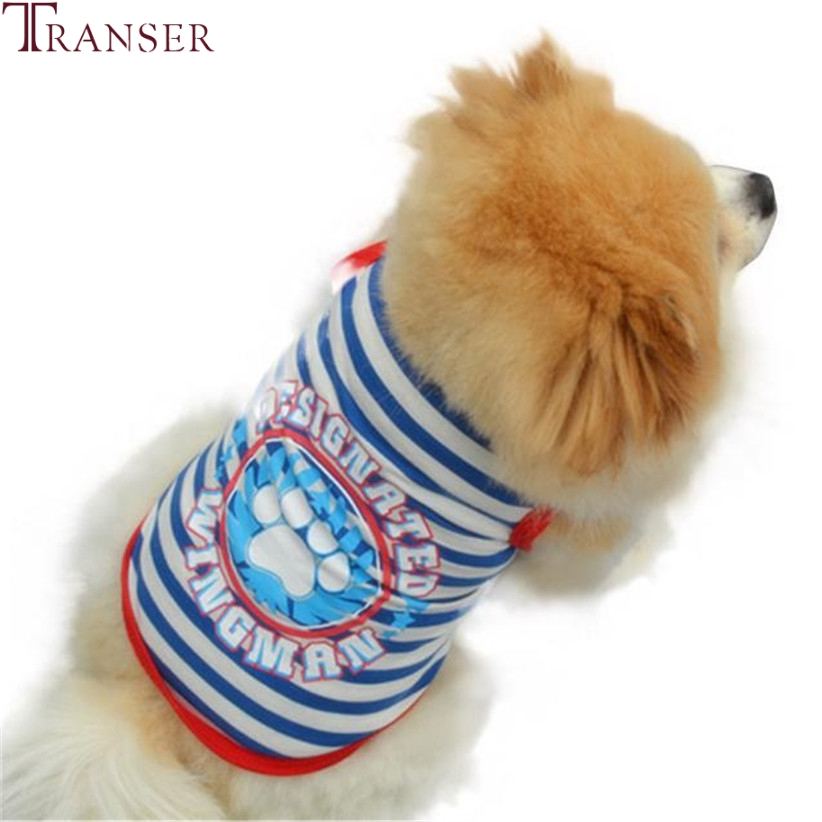 Transer Pet Dog Clothes For Small Dogs Summer Sailor Striped Dog Vest Puppy Pet Tee Shirt 80118