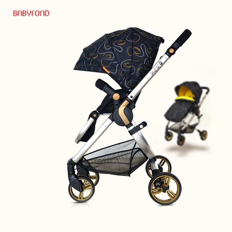 Holland 2in 1 Baby Strollers High Landscape  Folding  Child Handcart Super Light pram holland adaptation in natural