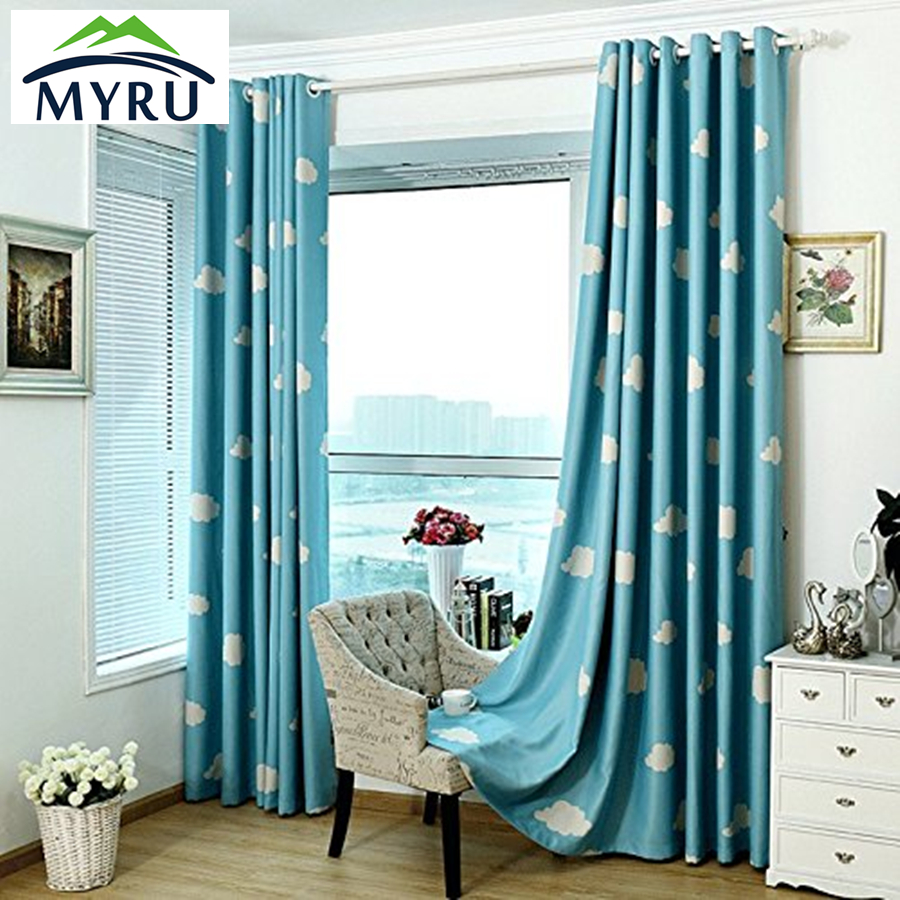 Blue bedroom window curtains - Myru Japan And South Korea Style Curtains Window Shade Blue Sky White Cloud Curtain Pink Curtain