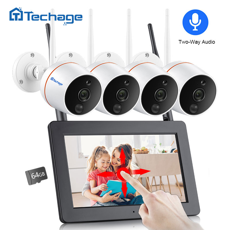 Techage 4CH 1080P Wireless Touch Screen LCD NVR Wifi CCTV System 2MP Two-way Audio Camera Video Surveillance Kit SD Card Record
