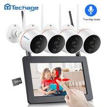 Techage 4CH 1080 P Wireless Touch Screen A CRISTALLI LIQUIDI NVR Wifi CCTV Sistema di 2MP A due vie Audio Video Della Telecamera Di Sorveglianza kit Record di Scheda SD