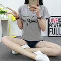 New women show thin round collar letters relaxed joker t-shirts walking dress with short sleeves