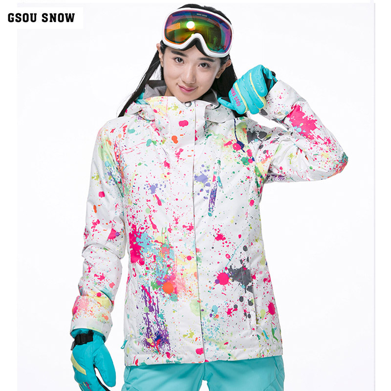 где купить Gsou Snow 2017 new ski suit women winter warm -30 outdoor windproof waterproof sports snowboard jacket free shipping size XS SML по лучшей цене