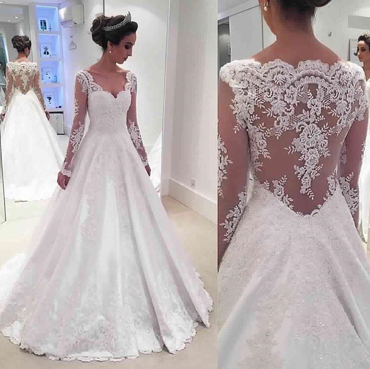 Newest a line long sleeve wedding dress 2017 lace for Satin and lace wedding dresses