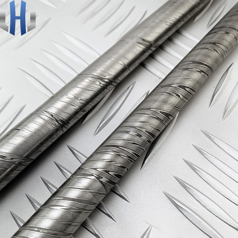 Damascus Steel Round Bar Pattern Round Bar Damascus Twist Pattern Large Horse Material Round Bar Jewelry Material