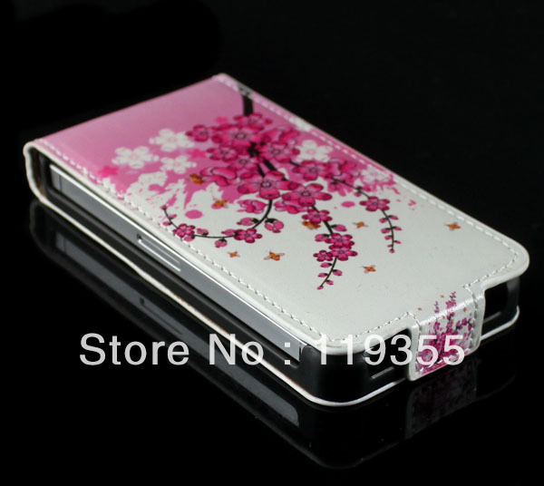 1 PC High Quality Fashion Plum Flower Skin Leather Case Cover for iPhone 4 4G 4S NEW