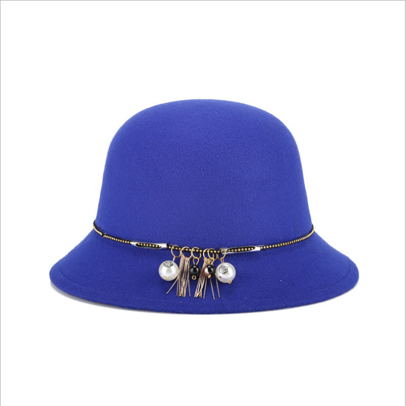BINGYUANHAOXUAN Women 39 s Autumn Winter Bowler Hat Vintage Wool Felted Cotton Round with Pearl Fashion in Women 39 s Sun Hats from Apparel Accessories