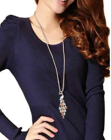 Распродажа разноцветное Кристальное длинное массивное ожерелье с павлином s Brincos свитер ожерелье Mujeres Bijoux ювелирное изделие подарок N5051