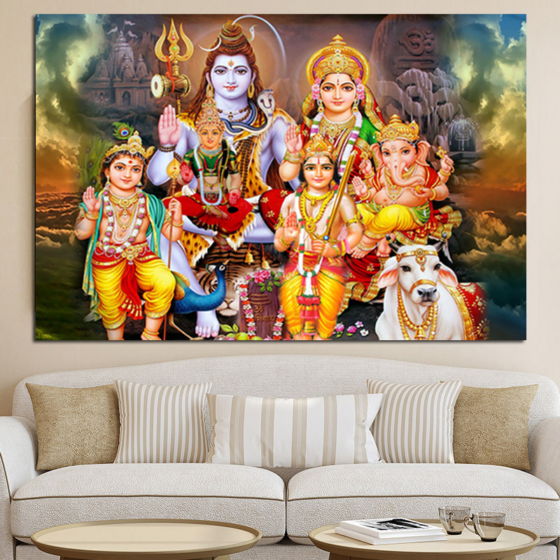 Canvas Paintings Wall Art Home Decor Framework 1 Piece/Pcs Shiva Parvati Ganesha For Living Room HD Printed India God Pictures