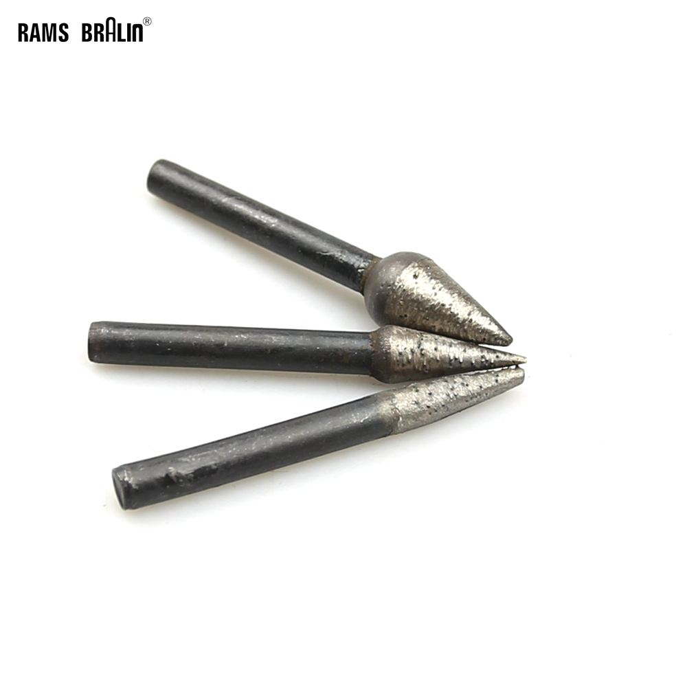 3 Pieces OD 6mm/8mm/12mm Taper Sintered Diamond Grinding Abrasive Point For Stone Engraving Carving