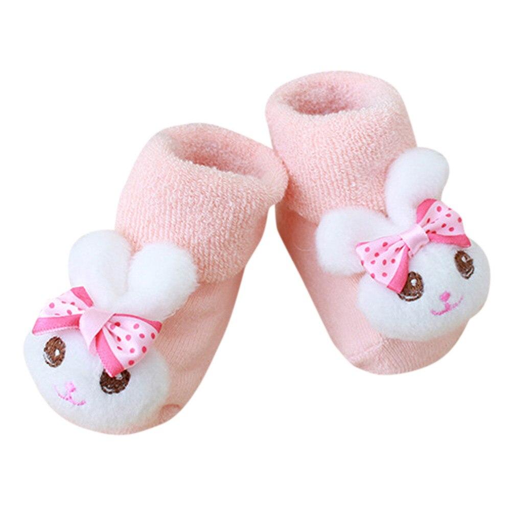 Cute Cartoon Newborn Baby Socks Calcetines Kids Baby Girls Boys Anti-Slip Winter Warm Socks Slipper Shoes Boots Meias