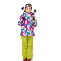 2018 Winter High Quality Thickening Waterproof Ski Suit Children Girls Warm Snowboarding Coat/Jacket+Overall Pants 110 160cm