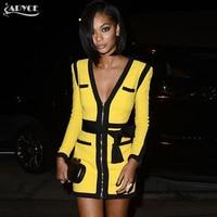 Adyce 2017 High Quality Bandage Dress Yellow Black Women V Neck Long Sleeve Summer Dresses Celebrity