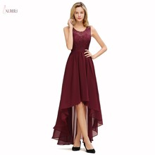 Burgundy Chiffon Long Evening Dress 2019 High Low Formal Party Gown Scoop Neck Sleeveless Lace Flower robe de soiree chiffon sleeveless high neck cami top in burgundy
