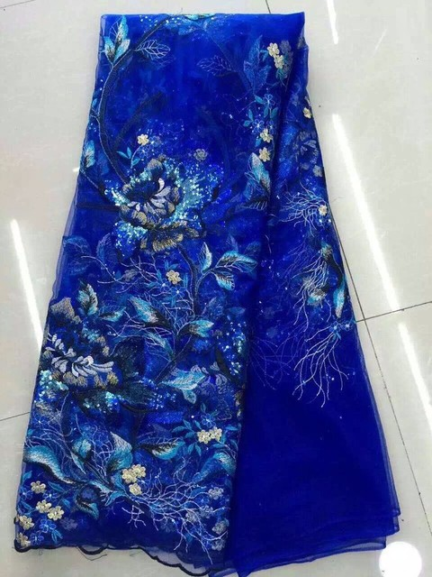 Zy1117 2017 T Tablecloth 3 D Chiffon Flower Printed Lace Fabric African Wedding Dress
