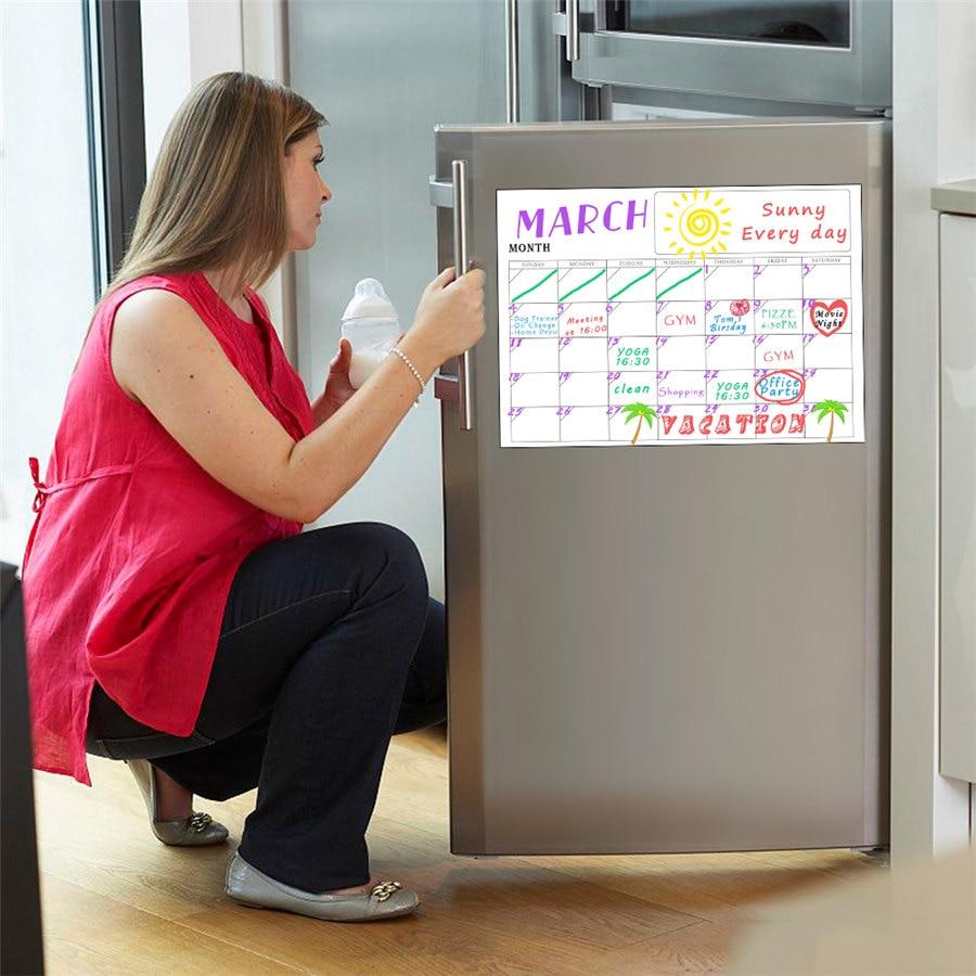 80756793886a Comprar 2 unids set magnético refrigerador pared arte calcomanía calendario  mensual semanal planificador pizarra cocina 42 30 cm Online Baratos