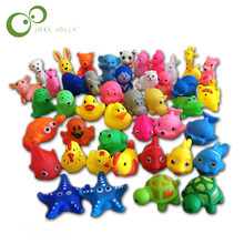 13Pcs Lovely Mixed Animals Colorful Soft Rubber Float Squeeze Sound Squeaky Bathing Toy For Baby GYH(China)