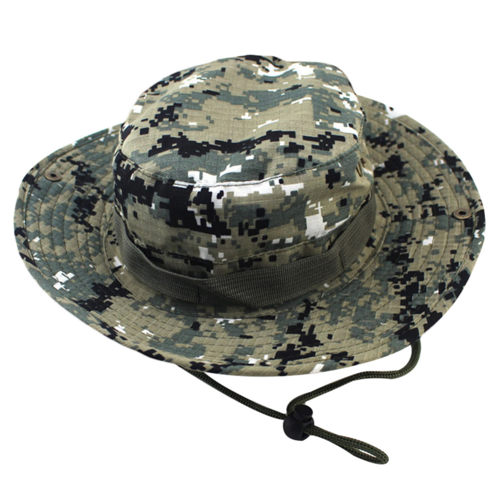 ddd60094 Military Camouflage Bucket Hats Jungle Camo Fisherman Hat Wide Brim Sun  Fishing Bucket Hat Camping Hunting Caps Army Boonie Hat-in Bucket Hats from  Apparel ...