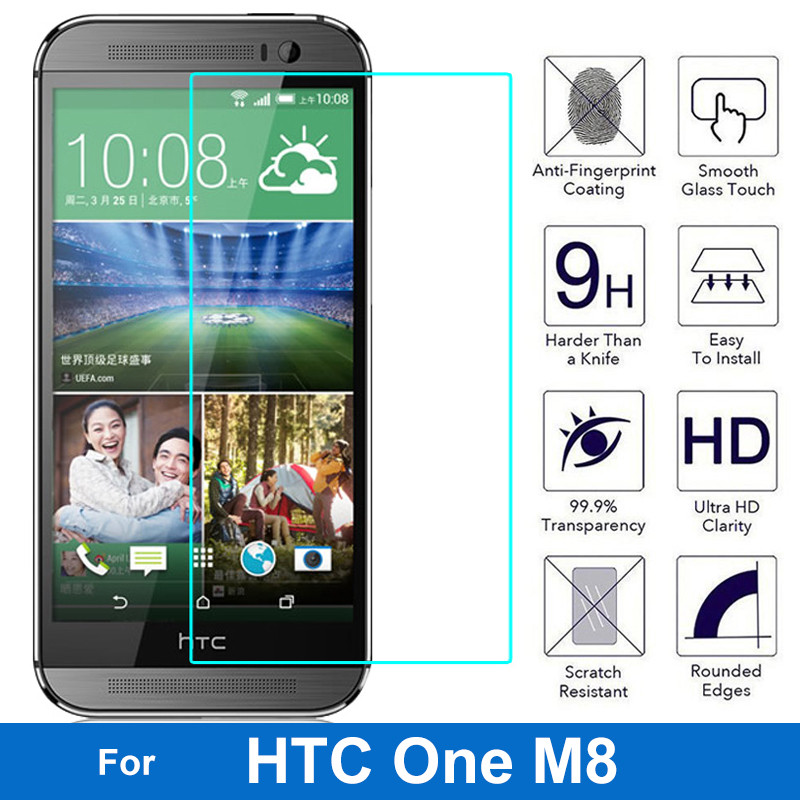 For HTC One M8 Dual Sim Tempered Glass Screen Protector 0.26MM 9H Safety Protective Film On M8i Eye M8Ew M8d M8s M8si M8t M8x