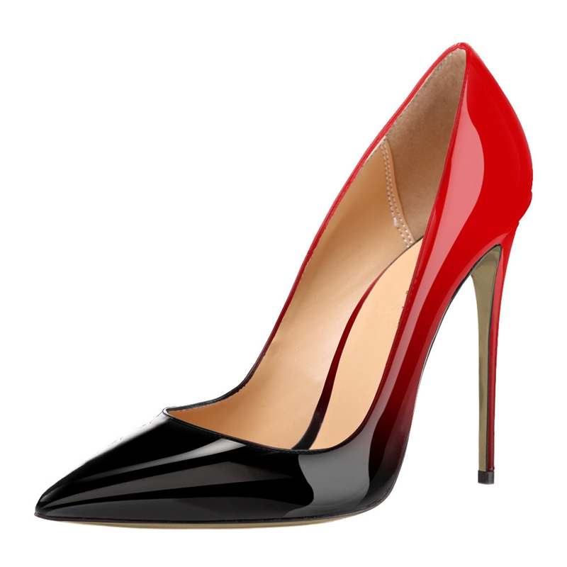 브랜드 신발 여자 하이힐 펌프 하이힐 12CM 여성 신발 결혼식 신발 펌프 블랙 누드 그라데이션 색상 신발 씬 힐