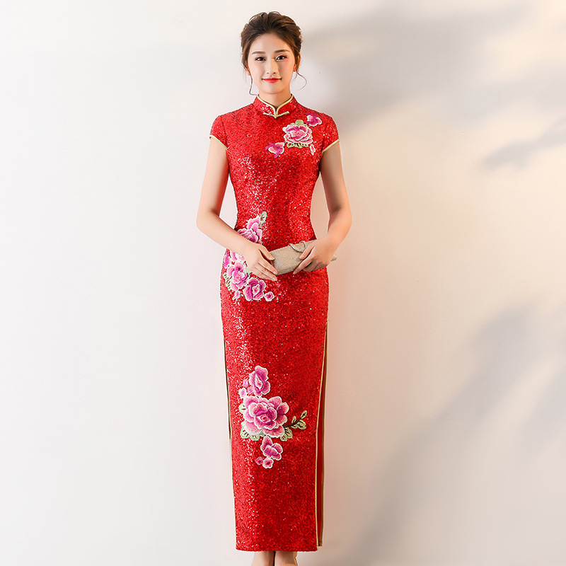 S 4XL Red Woman Elegant Party Long Cheongsam Vintage Chinese Style Spring Evening Dress Sequined Qipao Vestido Plus Size