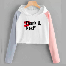 Ariana Grande Crop Top Sweatshirt Thank U Next Cropped Hoodi