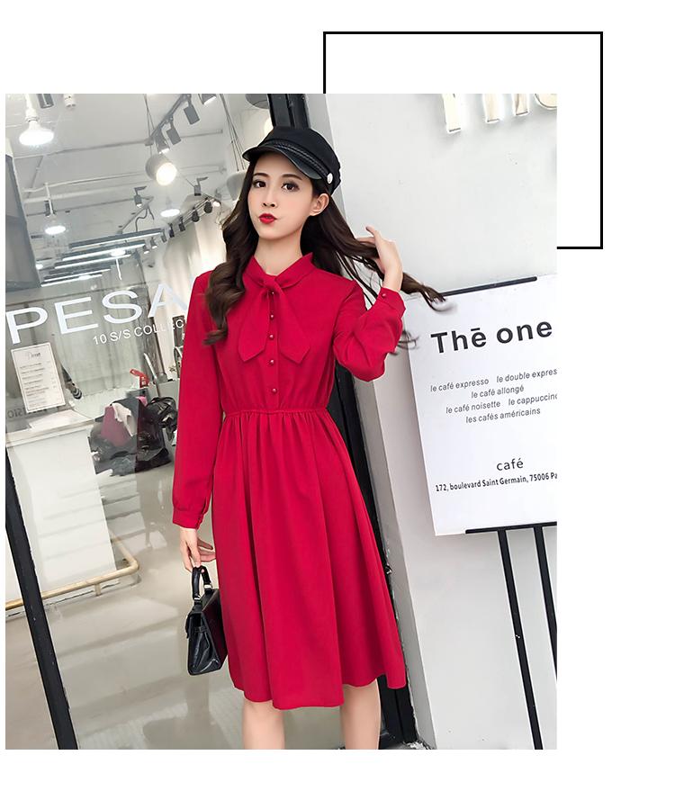 fashion bow collar women dresses party night club dress 2019 new spring long sleeve solid chiffon dress women clothing B101 11