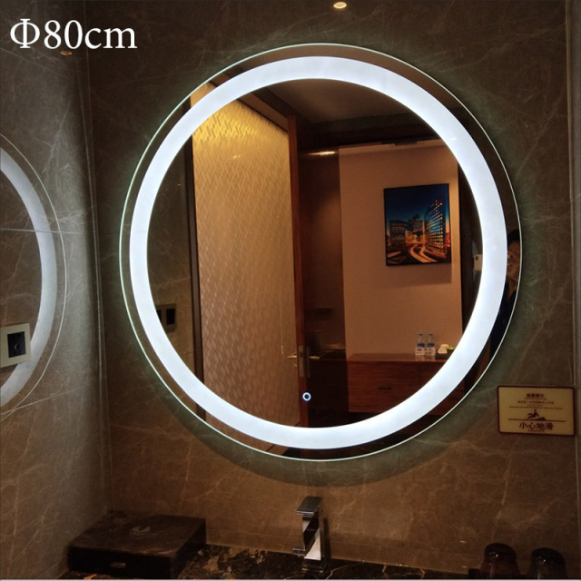 Customized Size LED Mirror Toilet Smart Bathroom Mirror Round vanity Makeup Mirrors Wall Touch Screen Control Anti fog Bluetooth