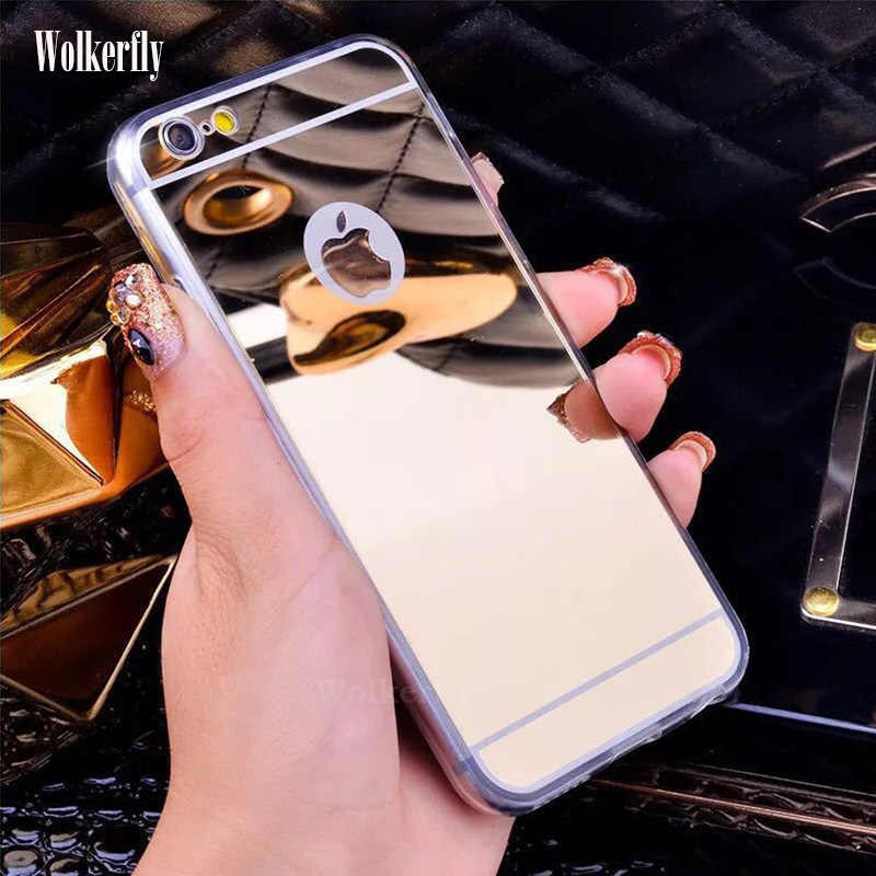 Luxe Spiegel Case Voor Iphone 11 Pro Max 7 8 6 6S Plus 5 S Se 2 X Xs max Soft Clear Tpu Silicone Cover Se 2020 Rose Gold Coque