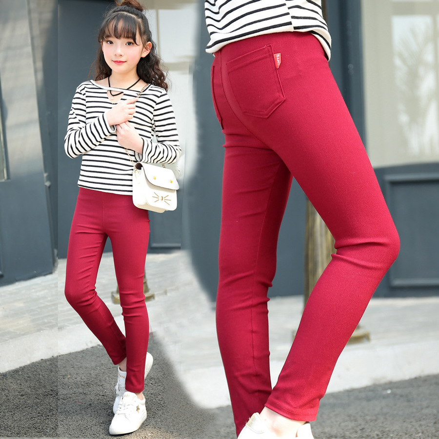 Famli 4Y-12Y Girls Thin Cotton Pencil Pants Children Spring Solid Skinny Elastic Leggings Teen Girl Summer Trousers self tie solid skinny pants