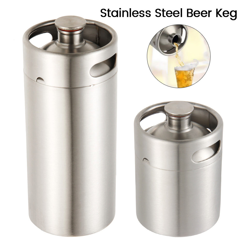 2/3.6L Stainless Steel Mini Beer Keg Pressurized Growler for Craft Beer Dispenser System Home Brew Beer Brewing image