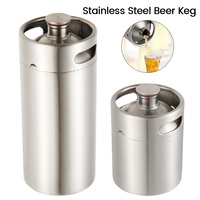 2/3.6L Stainless Steel Mini Beer Keg Pressurized Growler for Craft Beer Dispenser System Home Brew Beer Brewing