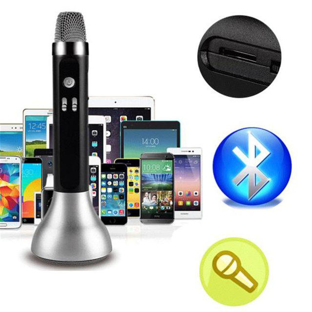 K7 Wireless Bluetooth stereo USB TF Card Handheled Karaoke car MIC Microphone Speaker DC 5V For Smart moblie Phone
