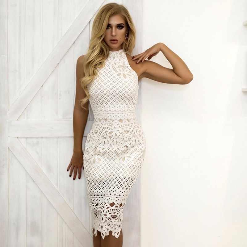 Joyfunear Летнее белое платье женское открытое без рукавов сексуальный обтягивающий платье Элегантное обтягивающее кружевное платье с цветочным узором Vestido