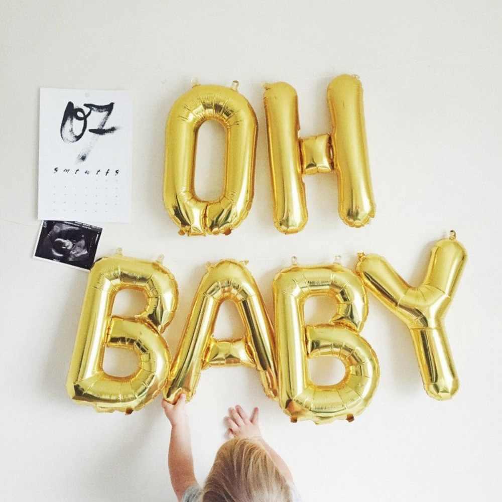Yoriwoo Tắm Cho Bé 16 Inch OH Bé Bóng Bay Nó Bé Trai Hoặc Bé Gái Giới Tính Tiết Lộ Hoa Hồng Vàng Bóng Babyshower dự Tiệc Cung Cấp Kid