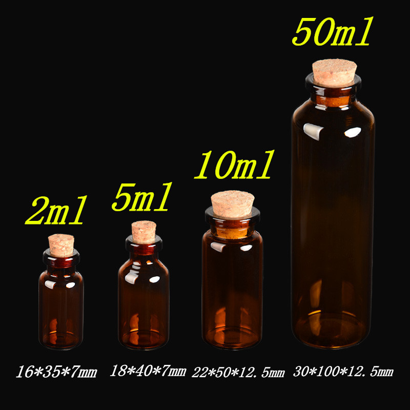 Amber Glass Vials with Cork Empty Small Brown Tiny Glass Jars Mini Glass Bottles Vials Jars