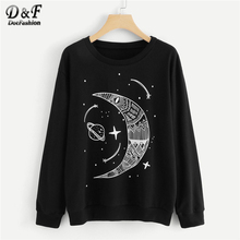 Dotfashion Galaxy Moon And Star Print Black Sweatshirt Women Casual Round Neck Long Sleeve Spring Autumn New Style Pullovers