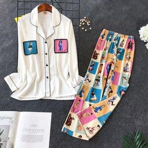 Image 1 - Daeyard pijama feminino conjunto de camisas e calças de seda 2pcs pijamas meninas bonito nightie pijamas contraste cor casual casa pj conjunto
