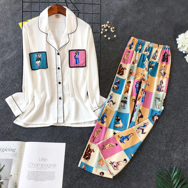 Daeyard pijama feminino conjunto de camisas e calças de seda 2pcs pijamas meninas bonito nightie pijamas contraste cor casual casa pj conjunto