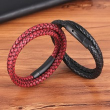 Perfect Design Double Layer Vintage Steel Buckle Geometric Braid 6mm Genuine Leather Bracelet Men Women Fashion Birthday Gift