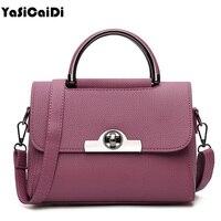 YASICAIDI Lock Women Crossbody Bags High Quality Pu Leather Luxury Handbags Famous Designer Brand Vintage Flap